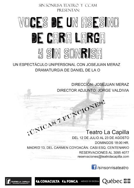 """Se presenta """"Voces de un asesino de cara larga y sin sonrisa"""" en el Teatro La Capilla"""