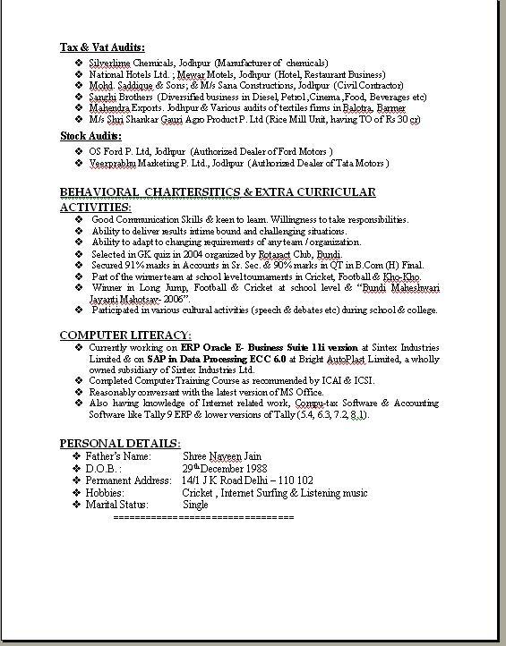 download sample resume format word professional - Format For Professional Resume