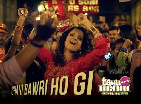 Queen of Bollywood, kangana ranaut, in Ghani bawari ho gi song from movie tanu weds manu returns
