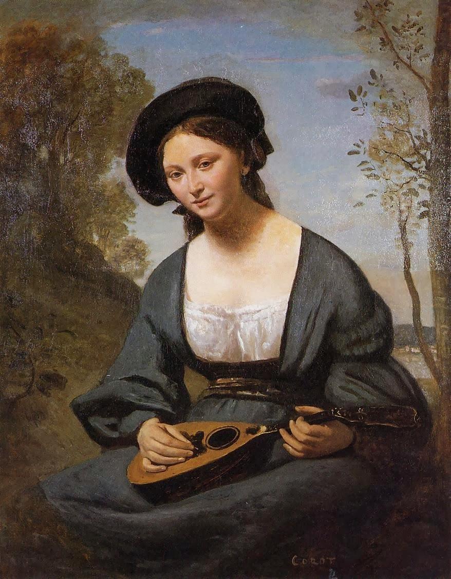 Femme dedans a 'Toque' avec a mandoline, ca. 1850-1855