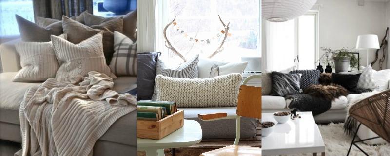 poduszki i koce, dom jesienią