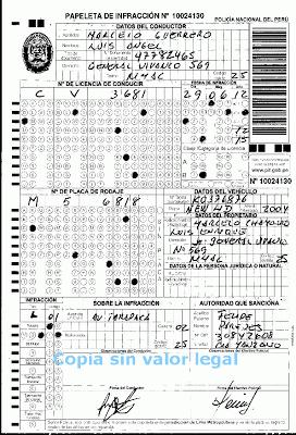 Foto de papeleta con datos de la infraccion