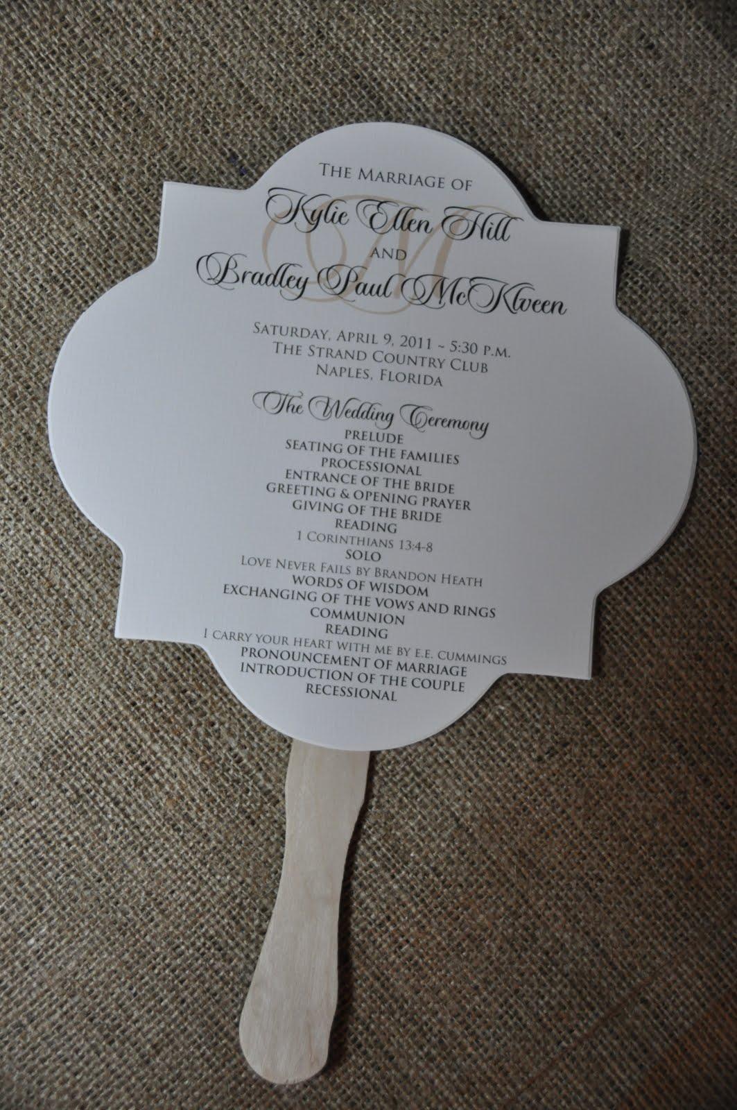 Sample Wedding Programs Kylie Bradley Wedding Program Fans