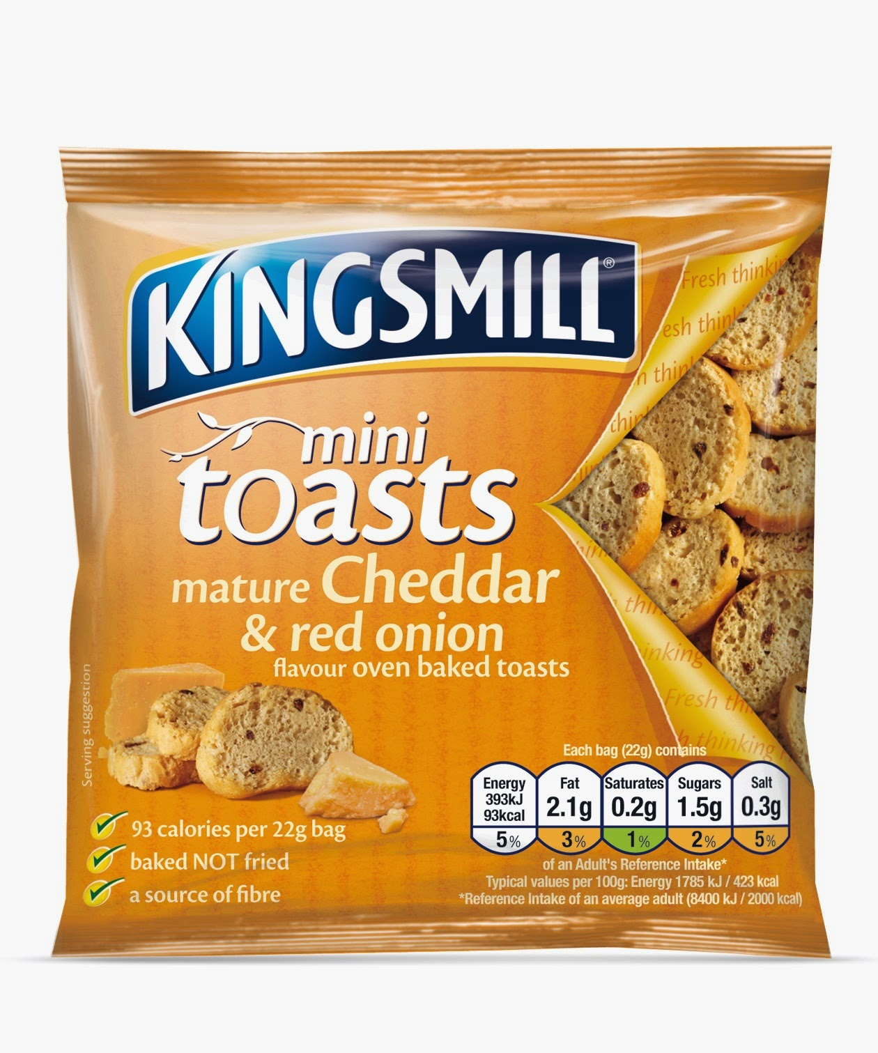 Kingsmill mini toasts mature cheddar and red onion