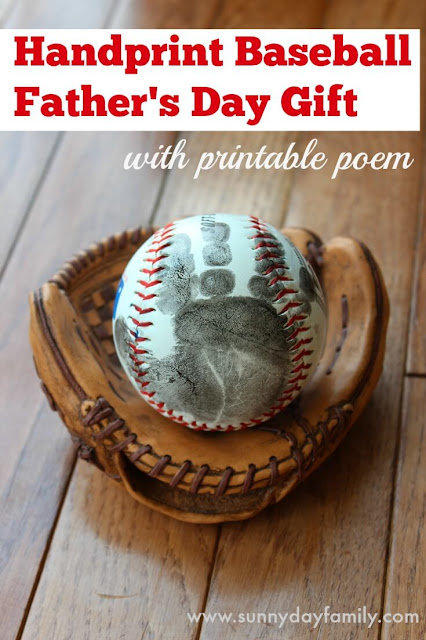 Father's Day Ideas - Handprint Baseball and printable poem