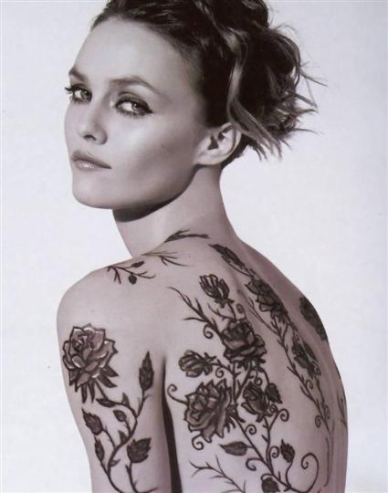 Vanessa Paradis with tattoo