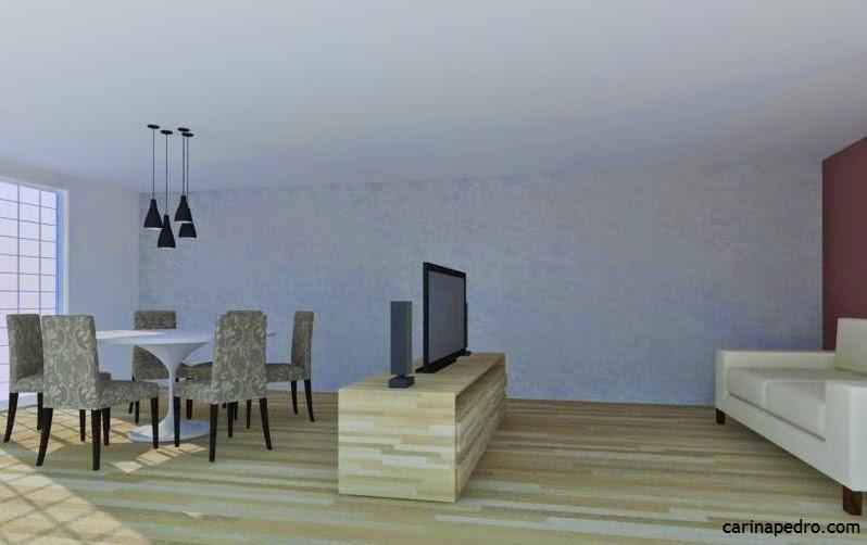 TV mal posicionada na sala - layout 3D - Blog Carina Pedro