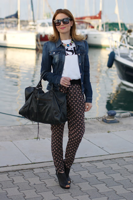 Balenciaga work, ethnic print baggy pants, Zara necklace, Fashion and Cookies