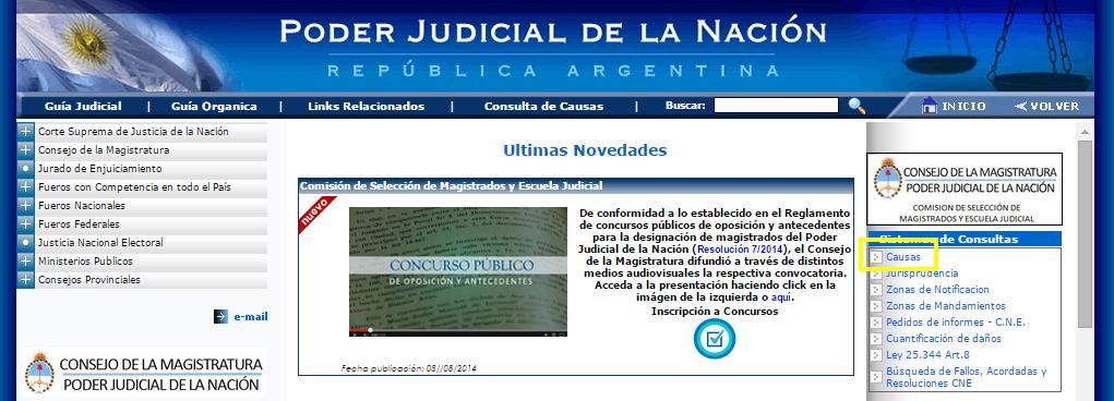 Página del Poder Judicial de la Nación