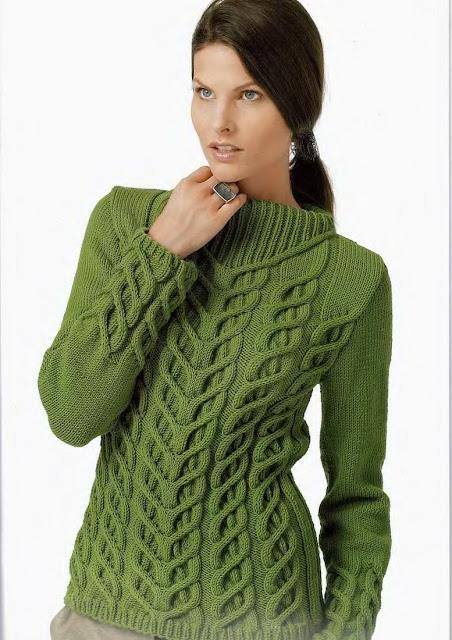 вязание спицами, женский свитер