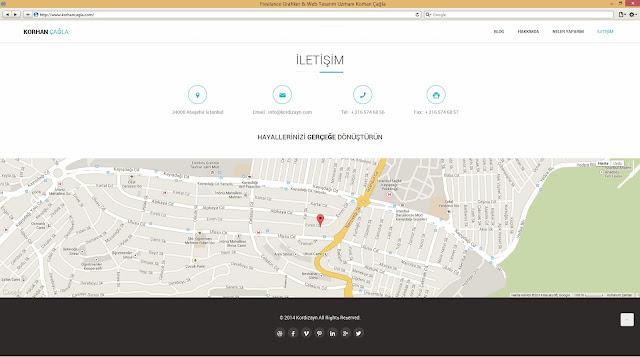 Korhan Çağla için yapılmış Kişisel Web Sayfası İletişim Sayfası