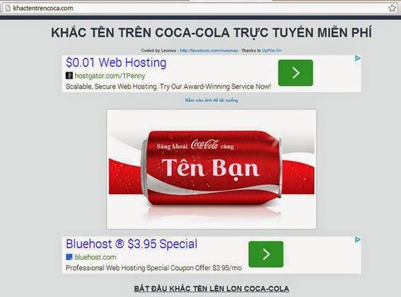 Khắc tên trên lon coca - cola trực tuyến
