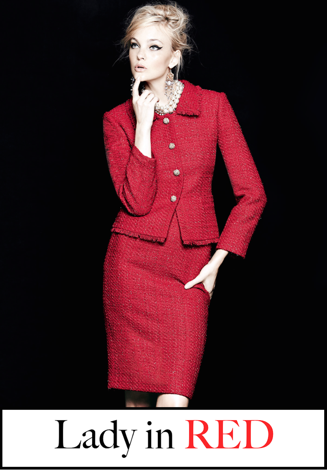 RED TAHARI TWEED SUIT