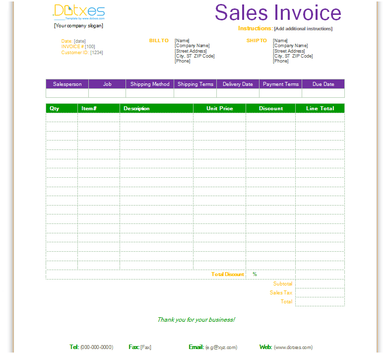 free invoice template for word, excel, openoffice and google docs, Invoice templates