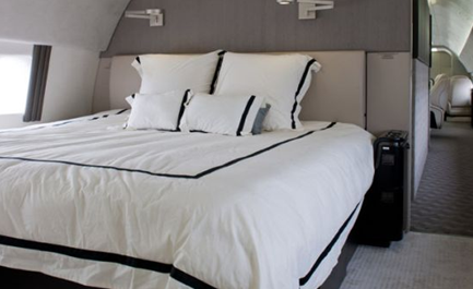 king-size bed in luxury boeing business jet vip bbj private airplane