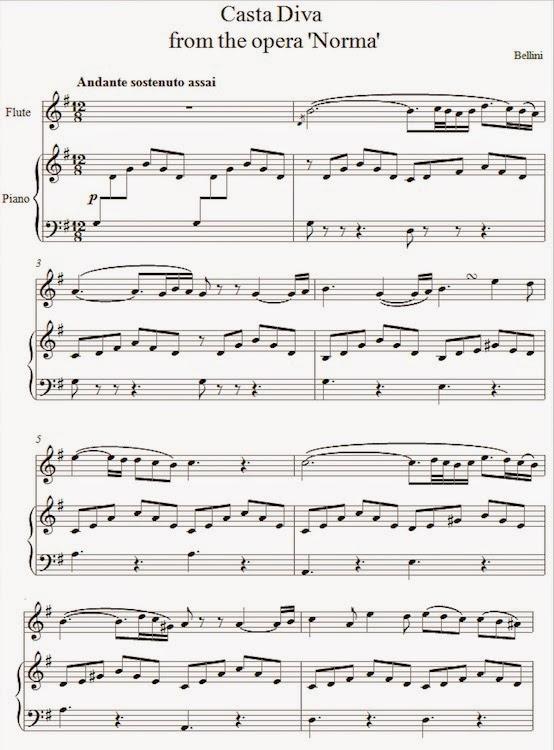 Bellini casta diva from norma partituras para flauta - Norma casta diva testo ...