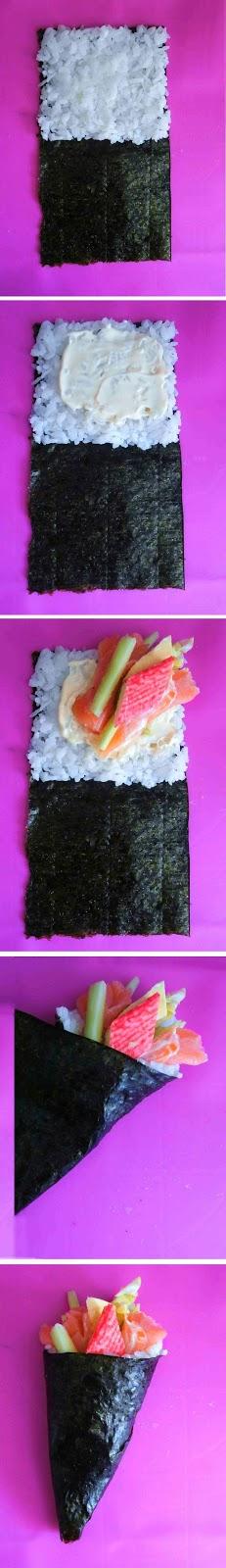 Sushi - Temaki - Przepis - Słodka Strona jak zawijać