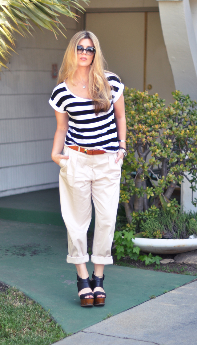 black and white stripes with khaki