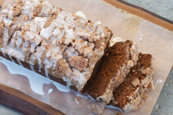 Maple Glazed, Streusel Topped Pumpkin Bread