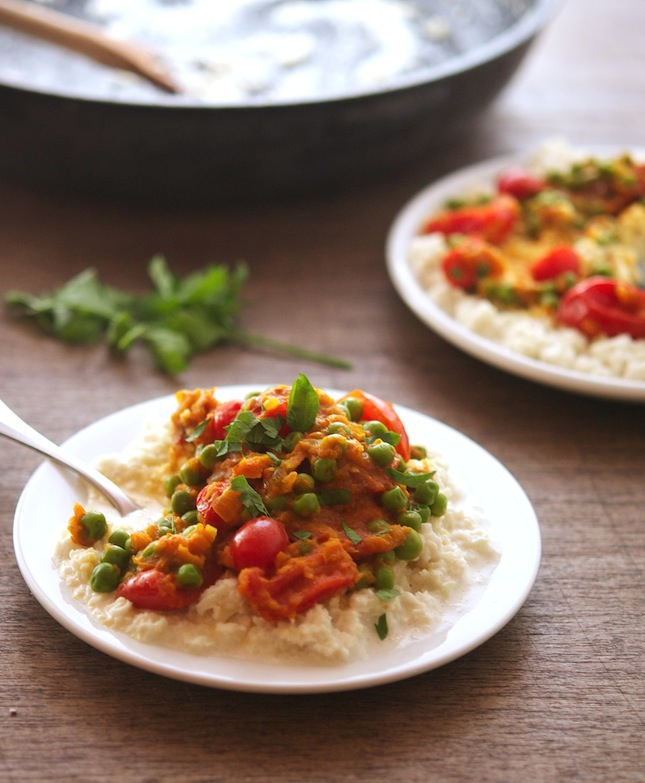 "Tomato Curry with Creamy Coconut Cauliflower ""Rice"""