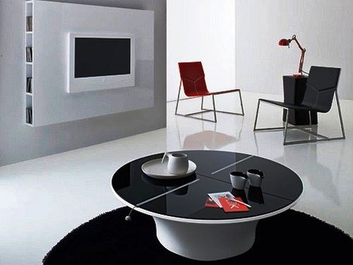 black and white color interior