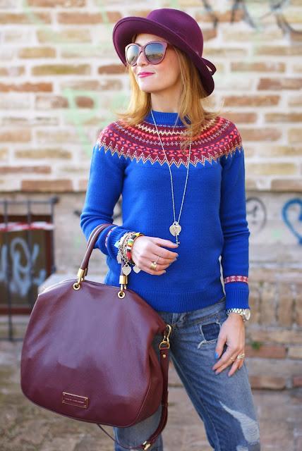 Tiffany maxi heart necklace, fair isle jumper, Ecua-Andino hat, Fashion and Cookies, fashion blogger