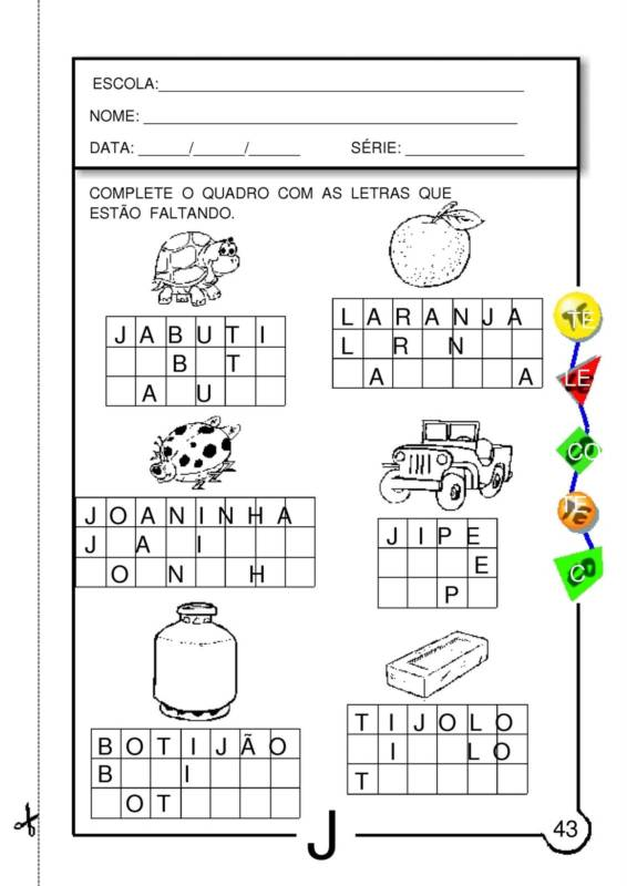 Amado ALFABETIZAÇÃO CEFAPRO - PONTES E LACERDA/MT : ATIVIDADES COM A LETRA J WK44
