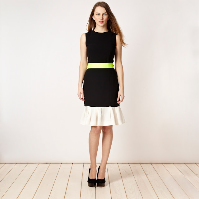 Black, white and neon belted dress