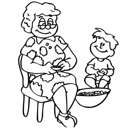 Abuela con nieto para colorear - Dibujo Views