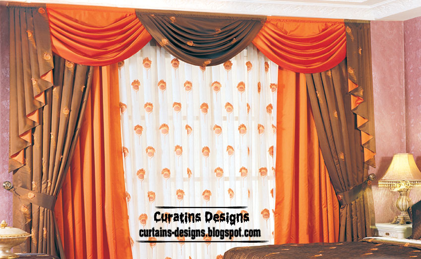 Contemporary bedroom curtain design orange with brown for Bedroom curtain designs photos