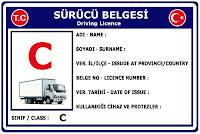 C Sınıfı Sürücü Belgesi Ehliyet