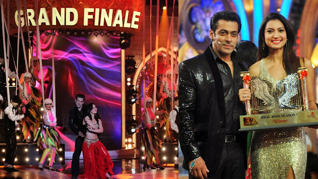 Salman gave winning trophy to Gauhar Khan in Bigg Boss 7 grand finale night