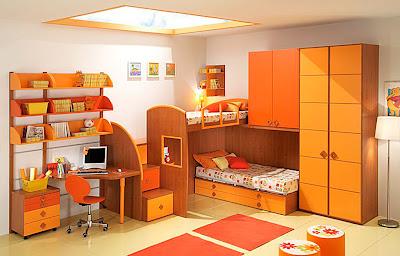 dormitorios muebles naranjas niño