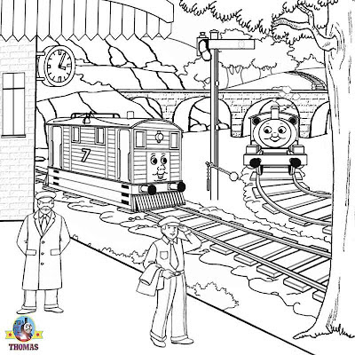 Steam tram Toby and Percy the small engine countryside drawing for coloring Thomas the train sheets