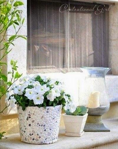 macetas decoradas con piedras y yeso portal de manualidades On macetas decoradas con piedras