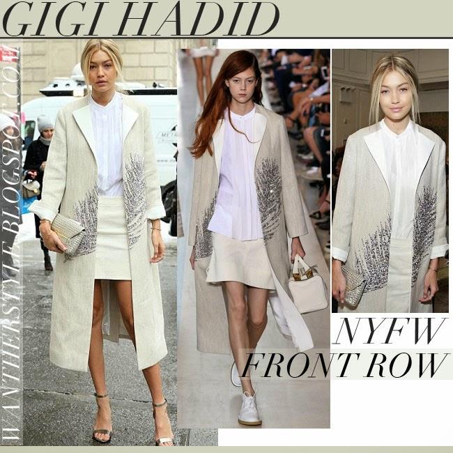 e2121f8dd82 Gigi Hadid in cream embellished coat with silver metallic ankle strap  sandals tory burch keri want