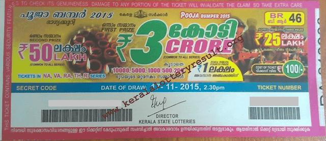 POOJA BUMPER 2015 Kerala Lottery Result 17-11-2015
