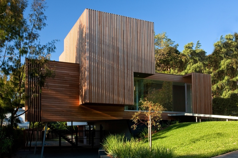 Wooden facade on Kew House by Vibe Design Group
