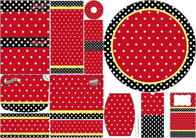 Red, Black and White Polka Dots: Free Printable Candy Bar Labels.