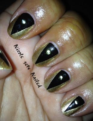 Metallic Gold Black Triangle Gold Stud Nails Nail Art