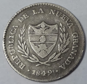 COLOMBIA COIN 1849 2 REALES SILVER KM#    LOT 549-escasa $