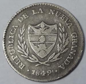 COLOMBIA COIN 1849 2 REALES SILVER KM#    LOT 549-escasa $