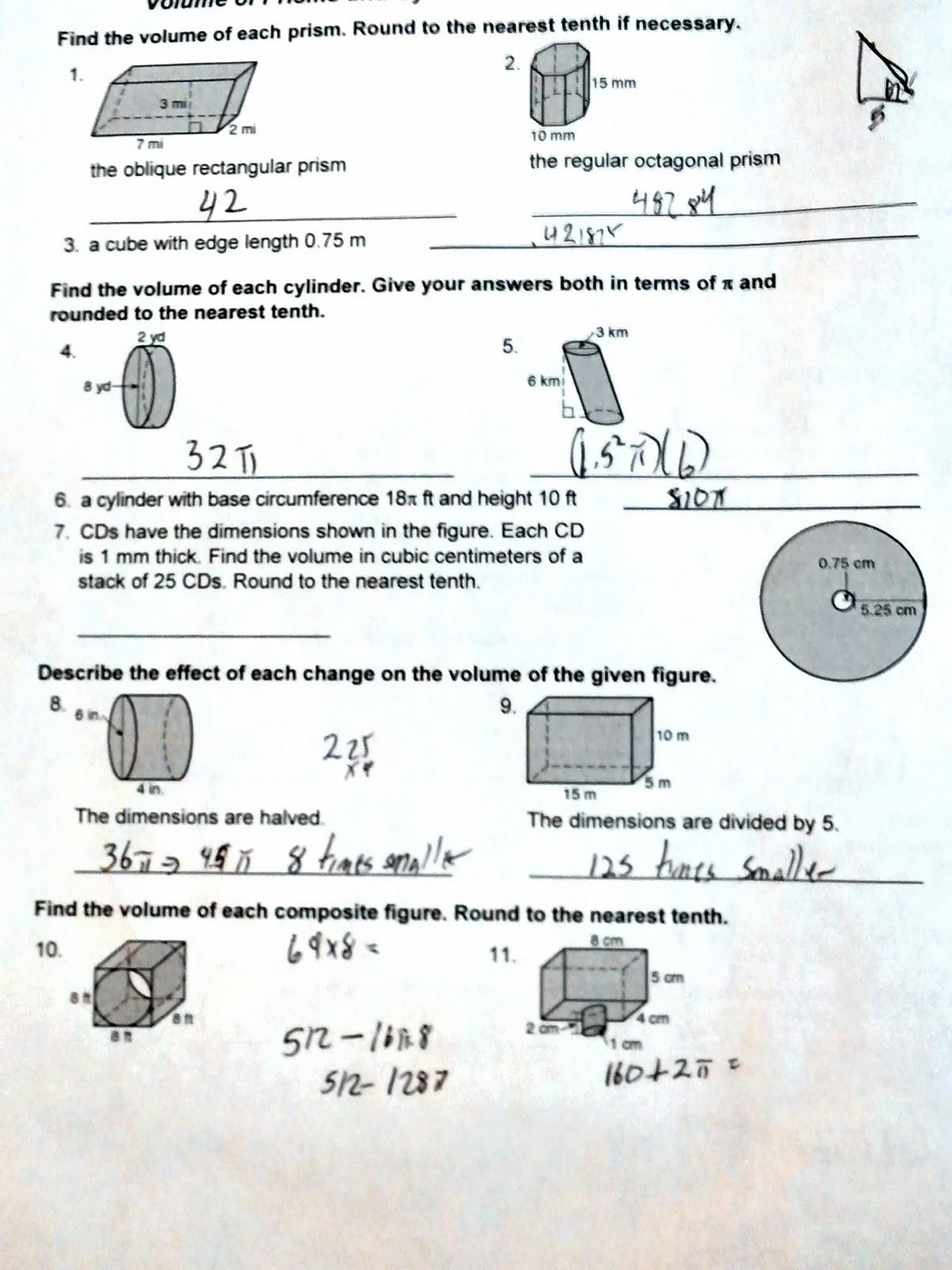 Yikes Geometry Supplement – Geometry Volume Worksheets