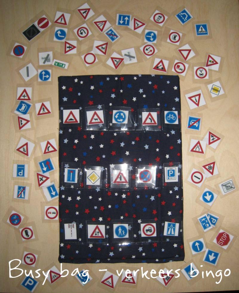 Busy bag - verkeers bingo - schoenkadootje