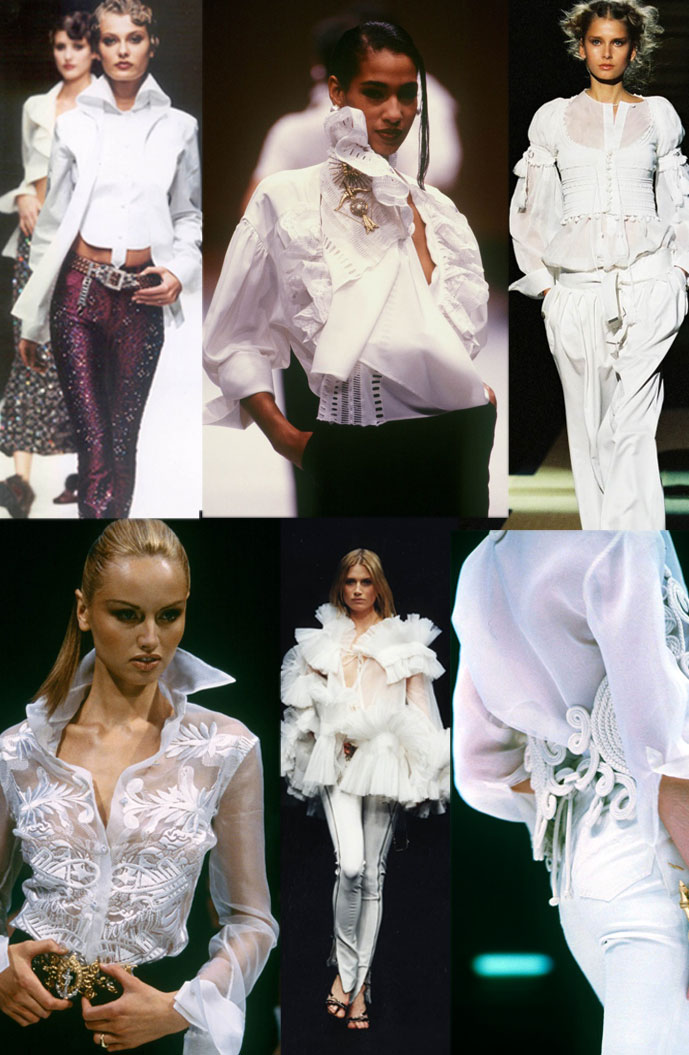 Gianfranco Ferre white shirts at Fall/Winter 2000, Spring/Summer 1990, Spring/Summer 2006, Spring/Summer 1997, Fall/Winter 2001 & Spring/Summer 1994