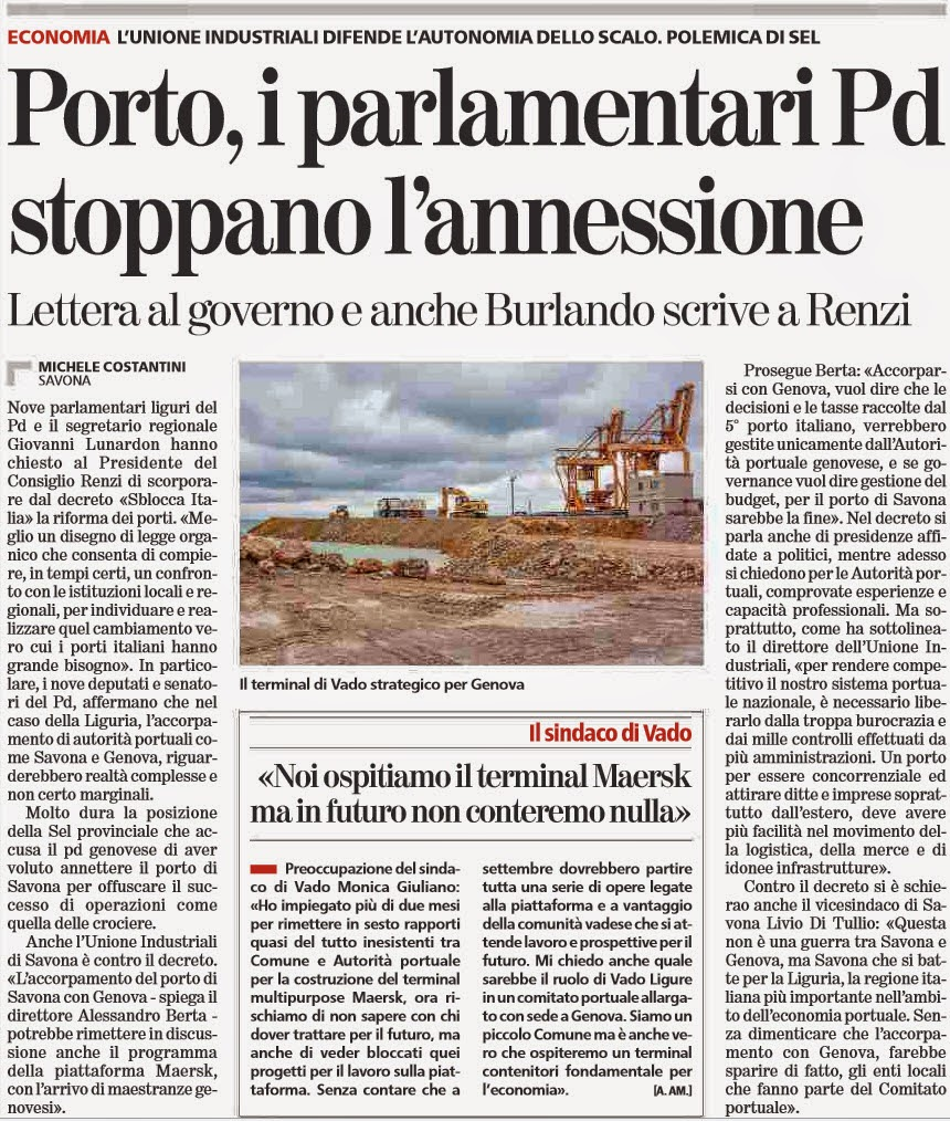 Alassiofutura savona autorit portuale i parlamentari for Parlamentari del pd