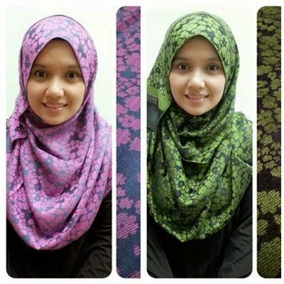 cara memakai shawl bunga