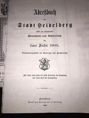 hisrorisches Adressbuch Heidelberg aus den Jahr 1900