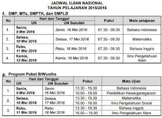 jadwal UN SMP 2016