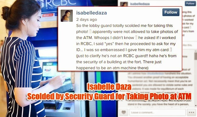 Isabelle Daza Scolded by Security Guard for Taking Photo at ATM